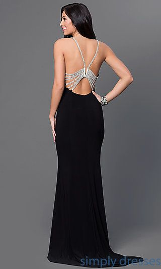 e7b4409bfcc Shop rhinestone-back long black prom dresses at Simply Dresses.  Floor-length formal-wear ball gowns and long backless pageant dresses.