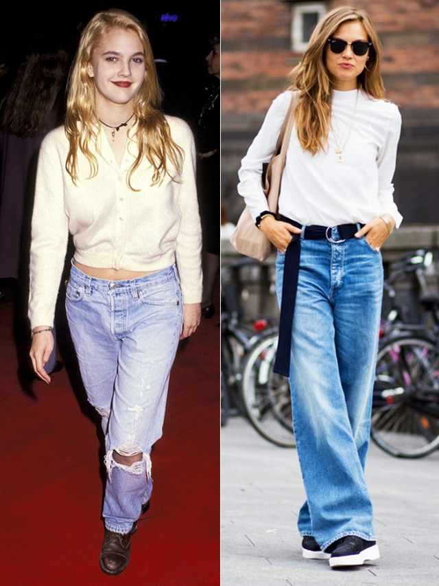 42b42b432e3c Drew Barrymore unofficially originated the truly slouchy jean way back in  1991—and we ve been seeing it lately on the streets of major cities from ...
