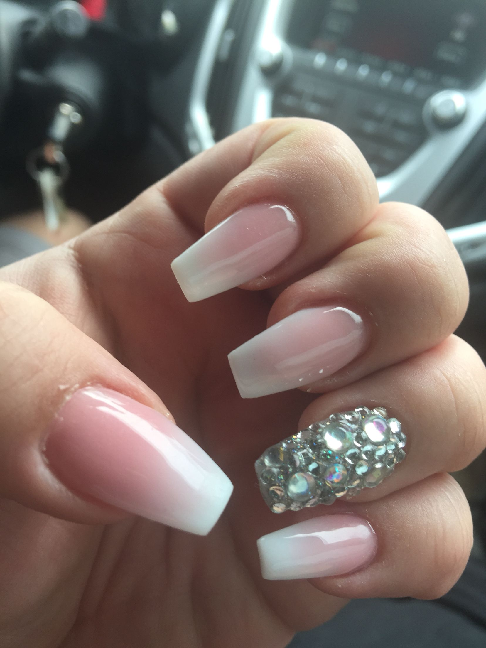 Coffin shaped with French ombré. Love!!! | Nails Nails Nails ...