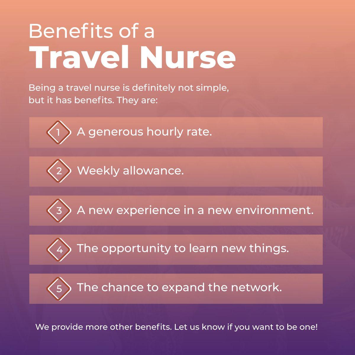 Benefits of a travel nurse travelnurse clinicalxperts