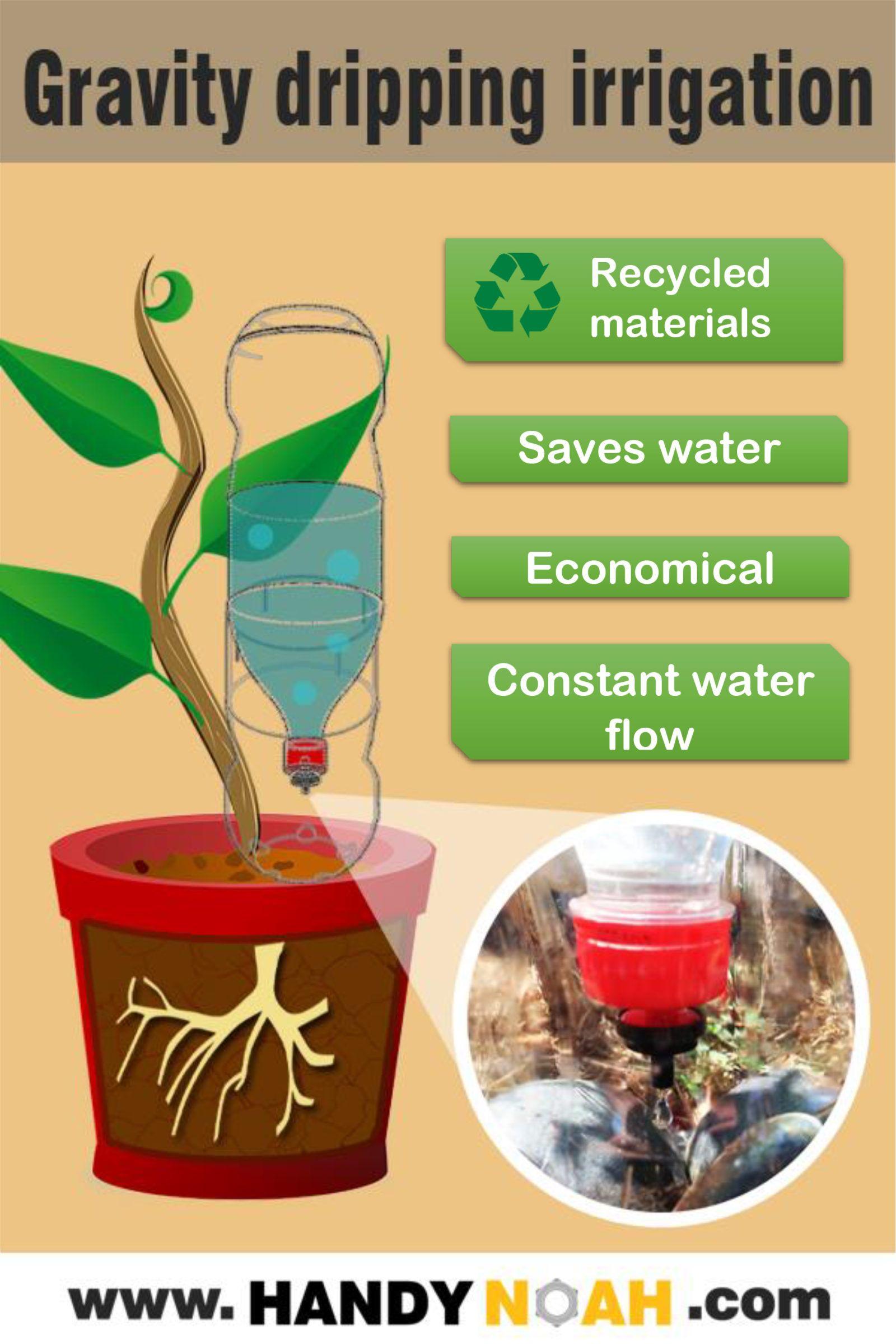 Make A Gravity Drip Irrigation System Using Recyclables Drip Irrigation Irrigation System Irrigation