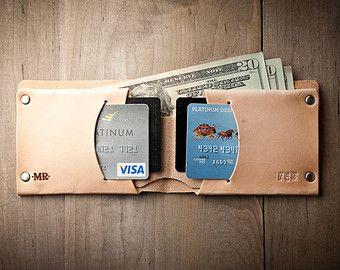 Mens Leather Wallet Personalized Wallet Thin Leather von MrLentz