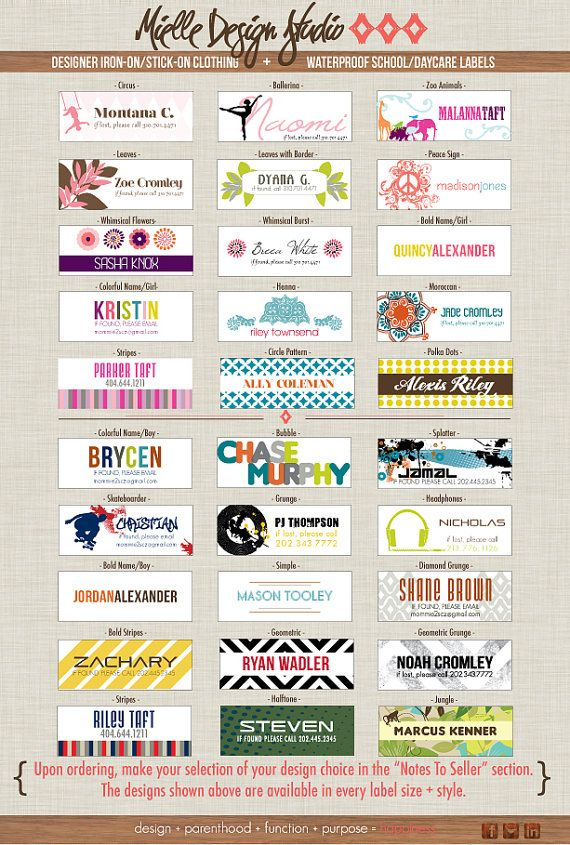 Personalized iron on clothing tags and stickers | Kid Stuff