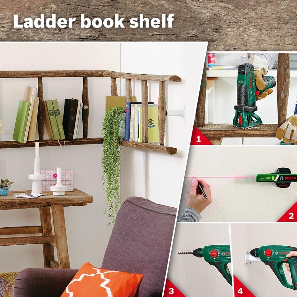 DIY Ladder book shelf   Dieses Vintage-Look-Regal aus einer alten Leiter gibt der Lese-Ecke Profil und sieht klasse aus. Die Anleitung findet Ihr hier: http://bit.ly/1gtPNlZ