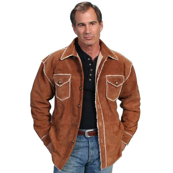 Antelope colored boar suede shirt jacket with faux shearling ...