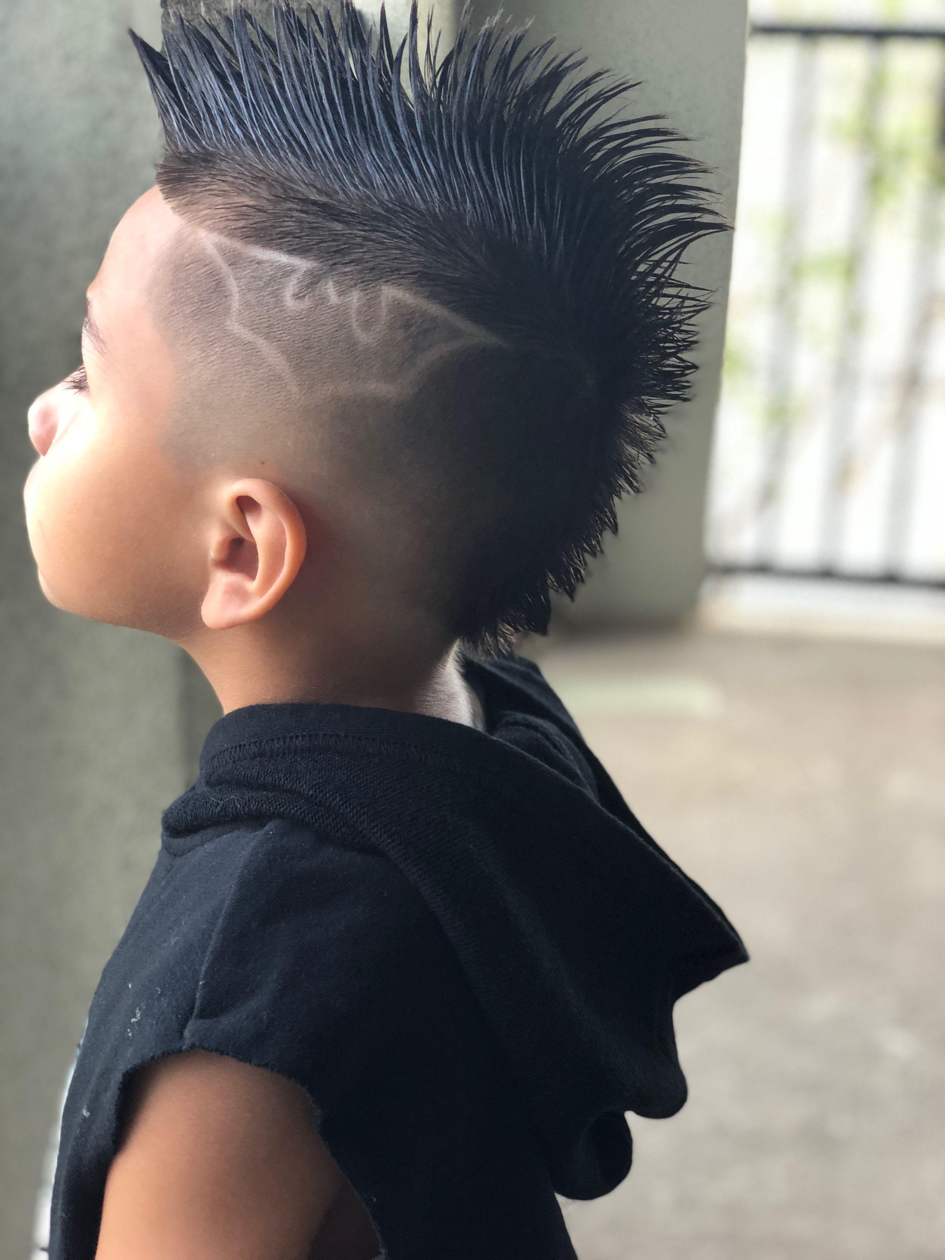 fo hawk with batman design boys haircut | young king in 2019