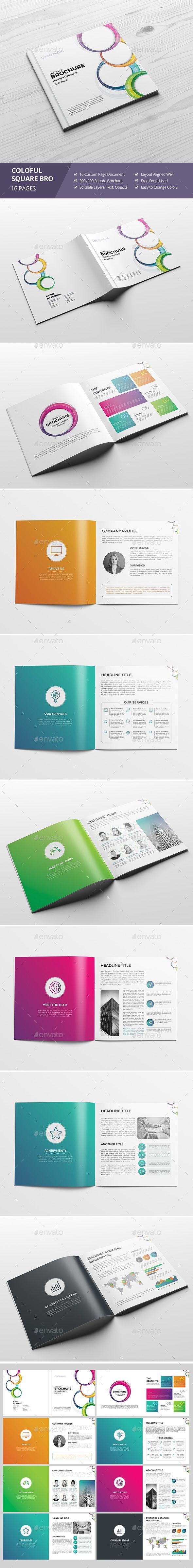 Haweya Colorful Square Brochure V03 | Pinterest | Indesign templates ...