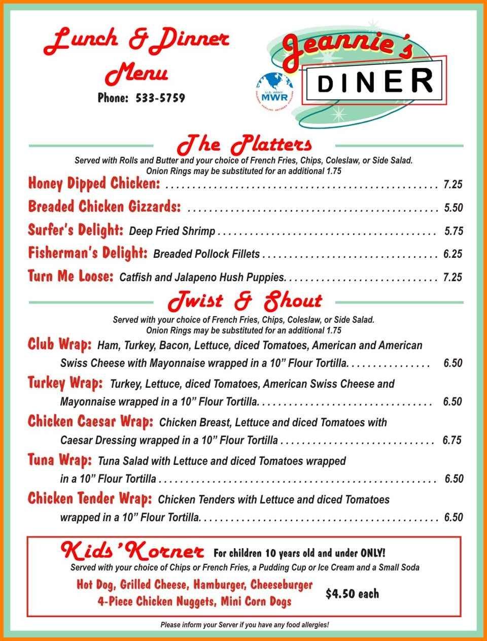 Diner Menu Template Diner Menu Diner Diner Recipes