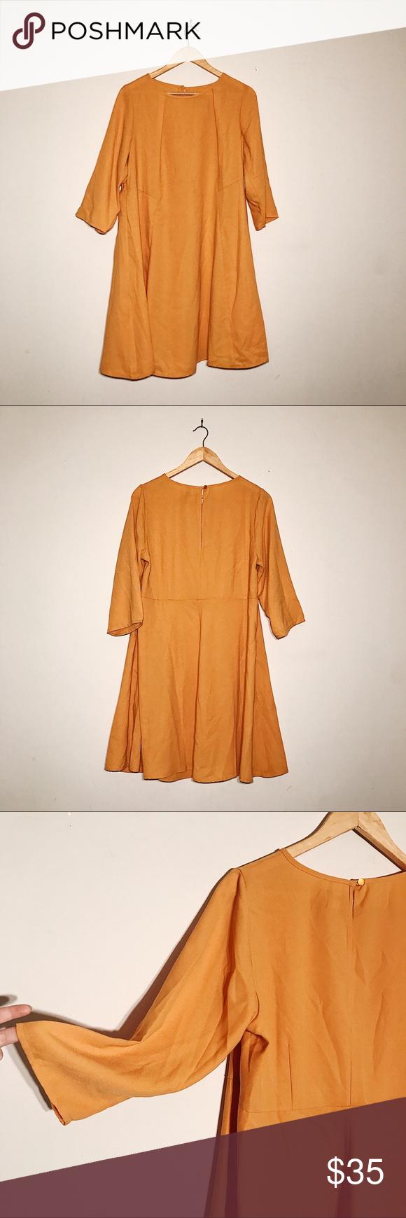 Yellow asos curve aline plus long sleeve dress never worn this