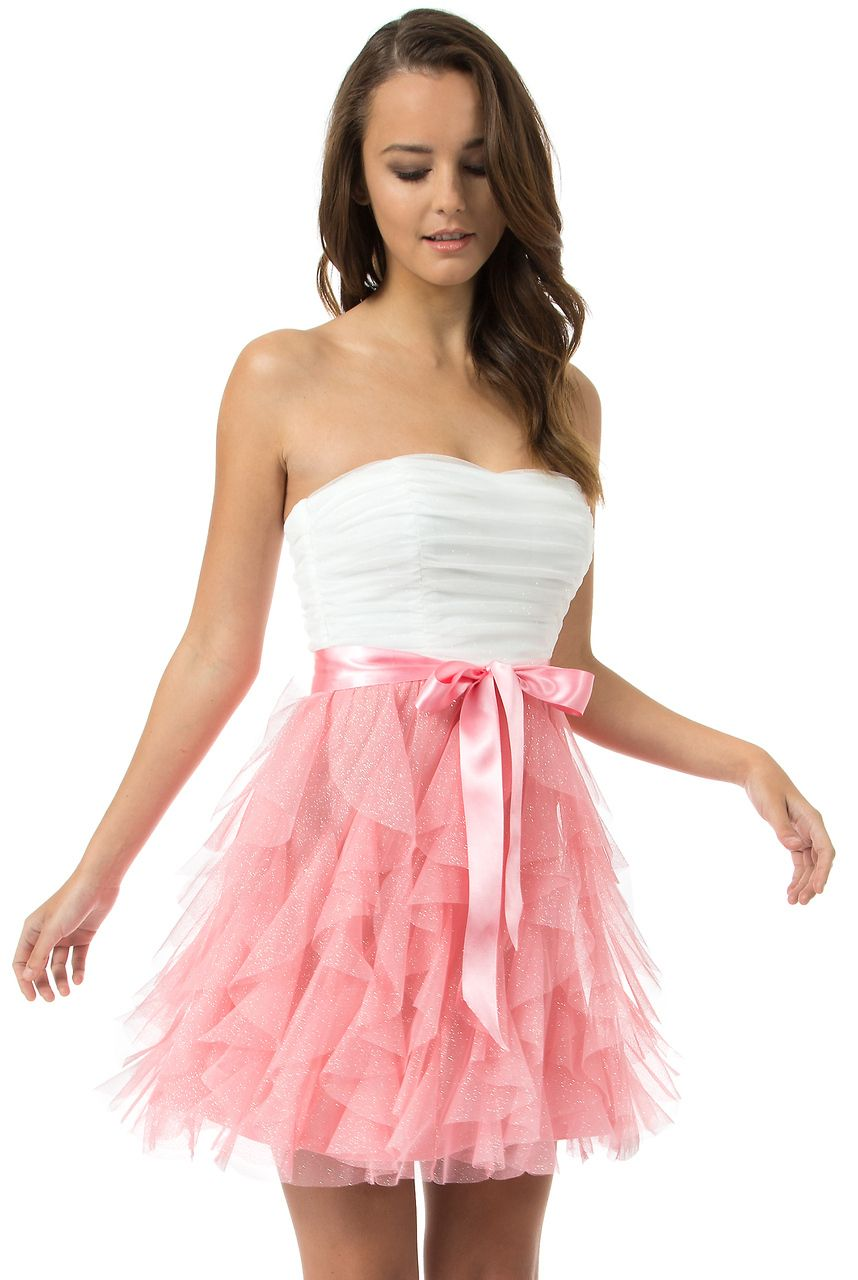 Teeze Me   Off White/Shrimp In Your Dreams Dress   Teeze Me Prom ...