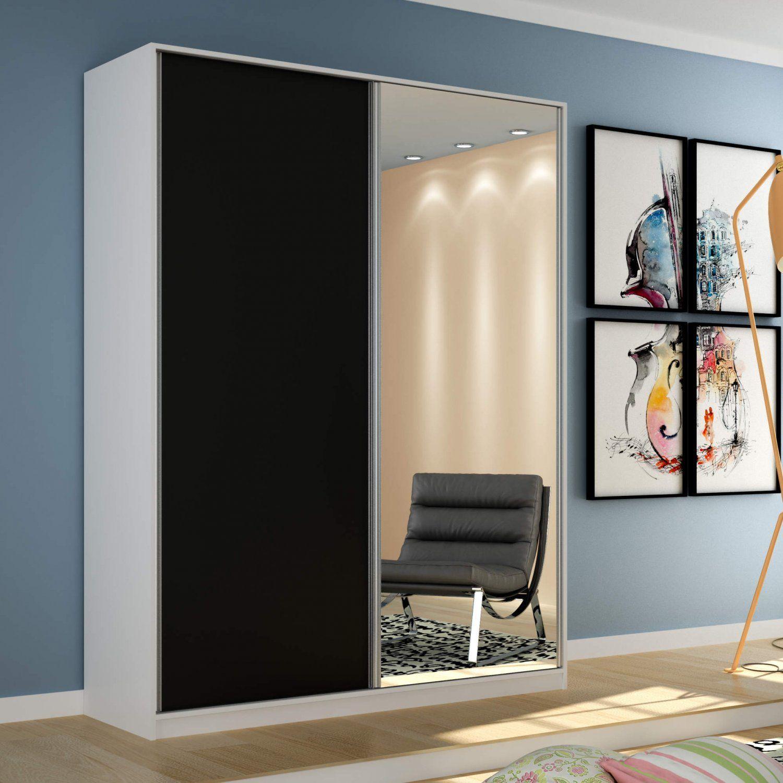 5353b17d1 Guarda Roupa Solteiro com Espelho 2 Portas de Correr Terrazo Siena Móveis  Branco/Preto