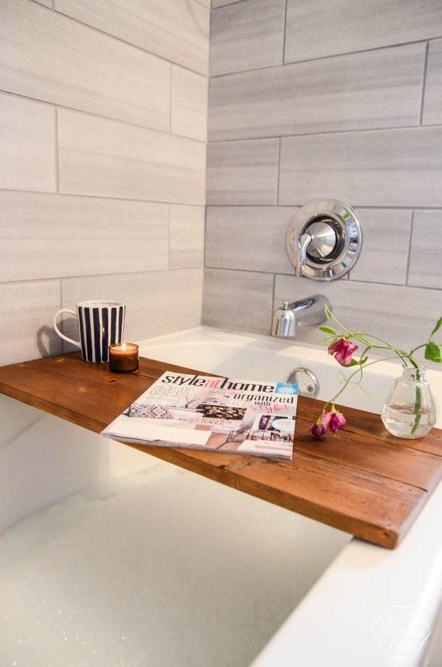 DIY Spa Tub Caddies & Bath Trays | Bath caddy, Diy baths and Bath