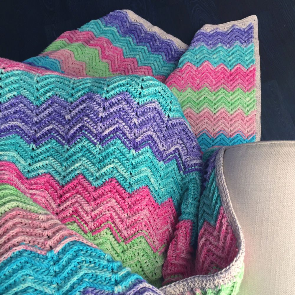 Textured Chevron Blanket – Free Crochet Pattern | Cobija, Manta y ...