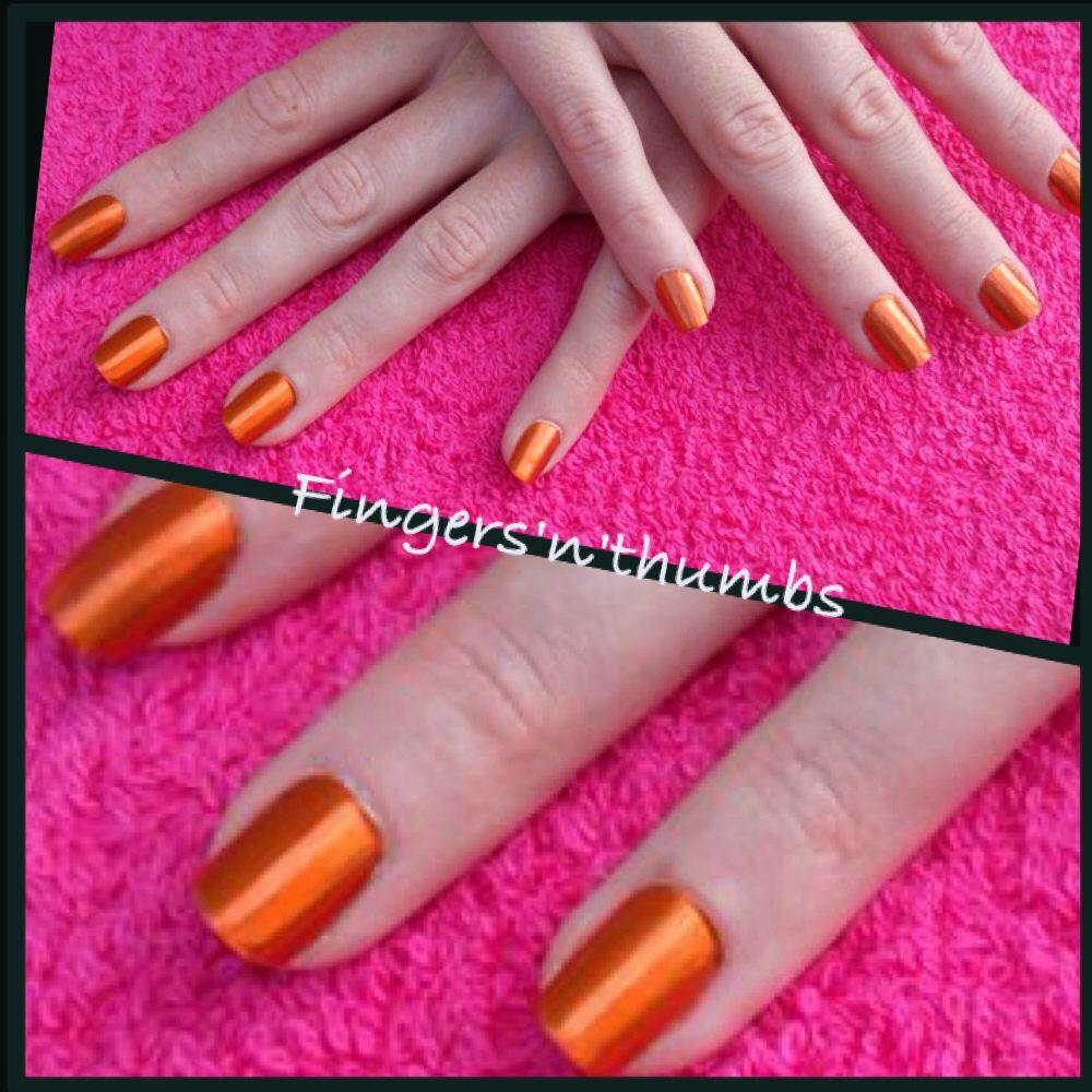 Minx orange chrome #nails #minx   Minx fingers and toes   Pinterest ...