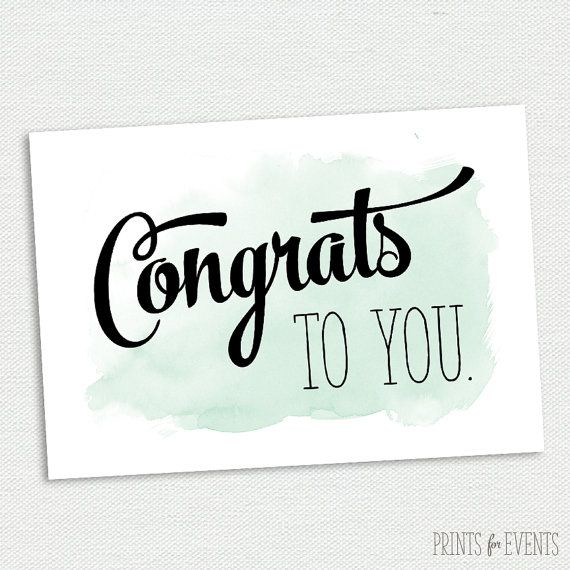 Printable Congratulations Card - Graduation Card - Mint and Black - congratulations card template