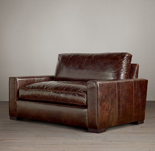 restoration hardware petite maxwell chair. rh\u0027s petite maxwell leather sofa:maxwell\u0027s streamlined design features a low back and wide, squared-off seat cushions. our size collections restoration hardware chair i