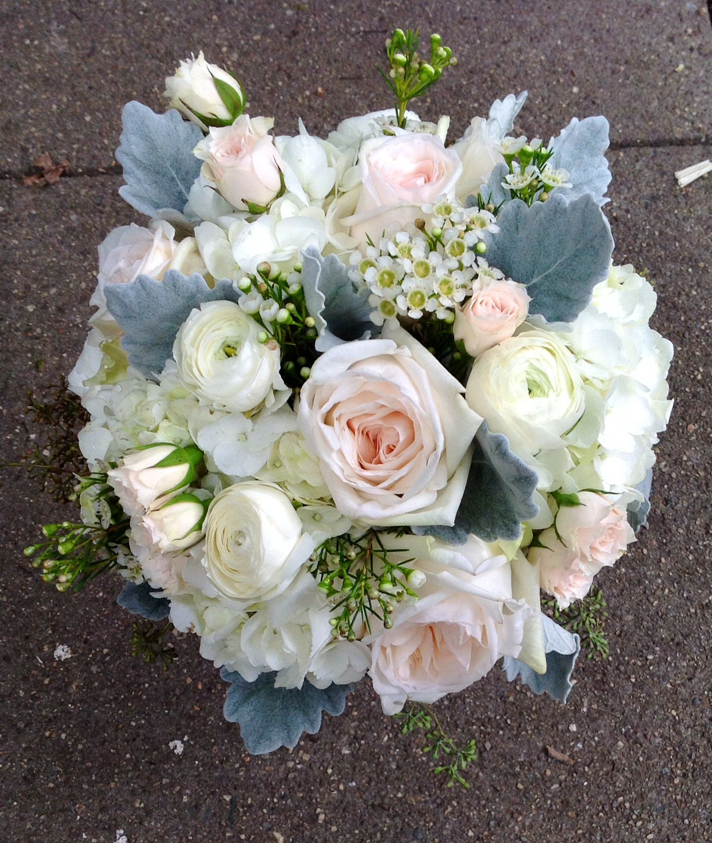White And Blush Bridal Bouquet, Using White Ohara Garden Roses, Ranunculus,  Hydrangea And