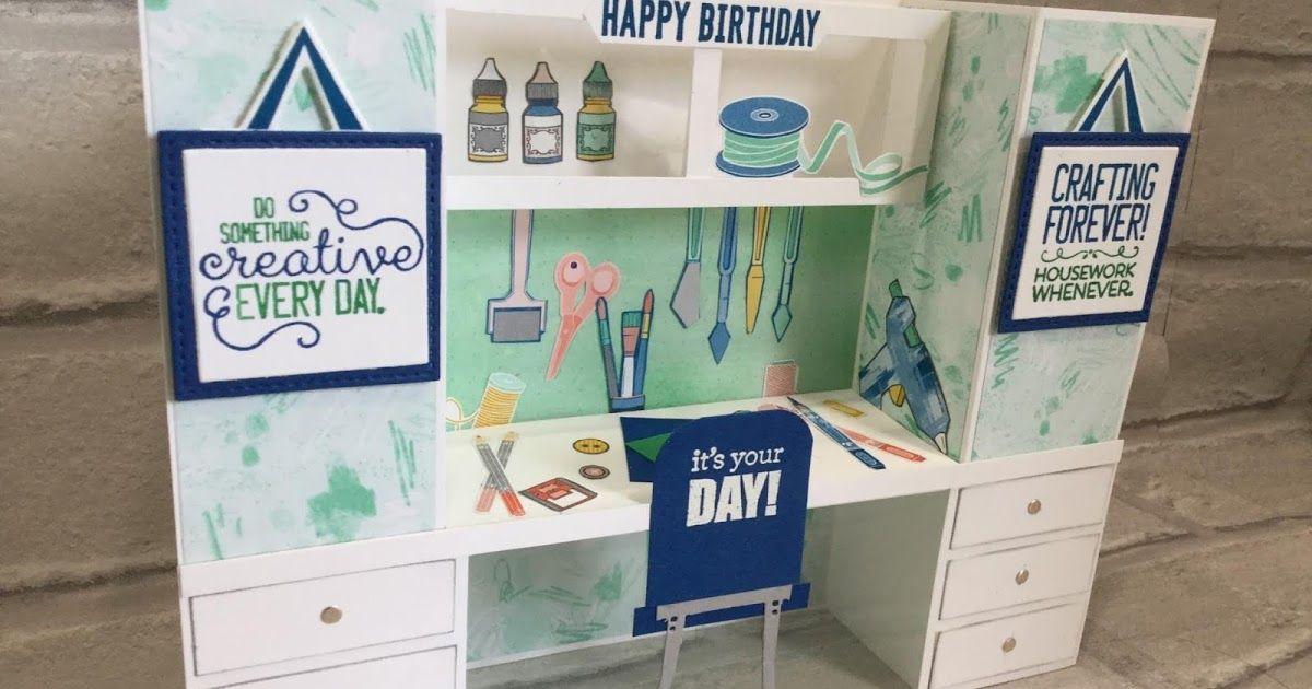 Crafters Desk Bench Fold Card For Fancy Fold Friday The Craft Spa In 2020 Diy Crafts Desk Craft Desk Happy Birthday Crafts