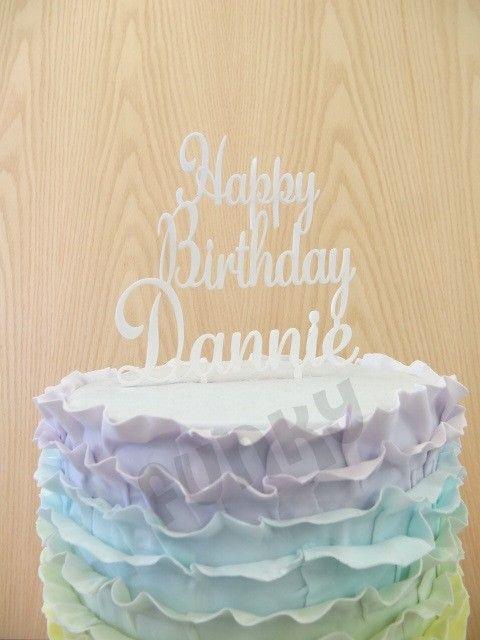 Happy Birthday Personalised Cake Topper 3 Lines Birthday Cake