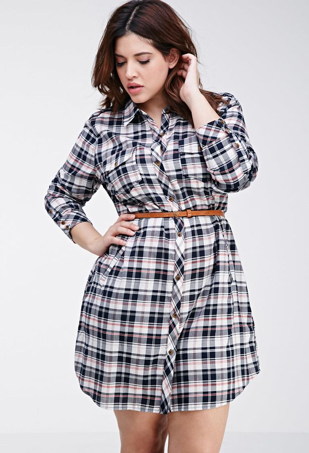 Plus Size Shirt Dress - Plus Size FOREVER 21+ Tartan Plaid ...