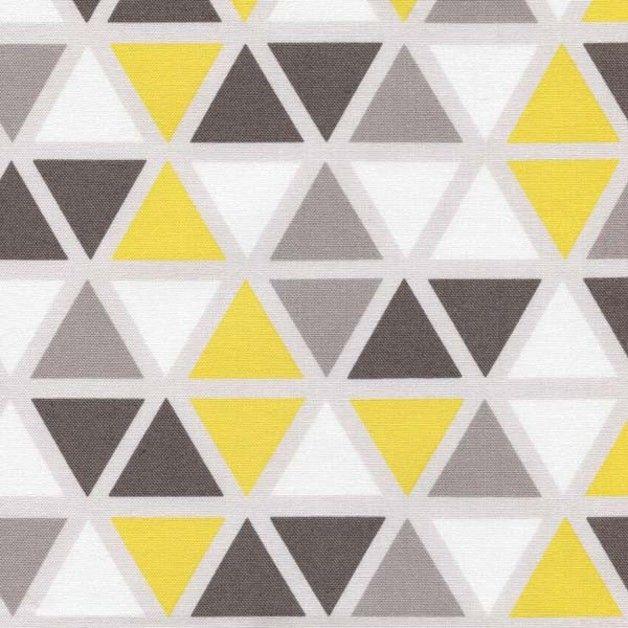 Stoff Grafische Muster - Stoff Dreieick Dreiecke Gelb Grau Weiß Grid