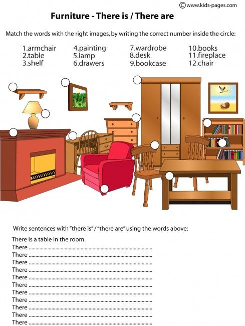 Furniture there is are worksheets dom dom cnos for Interior design vocabulary