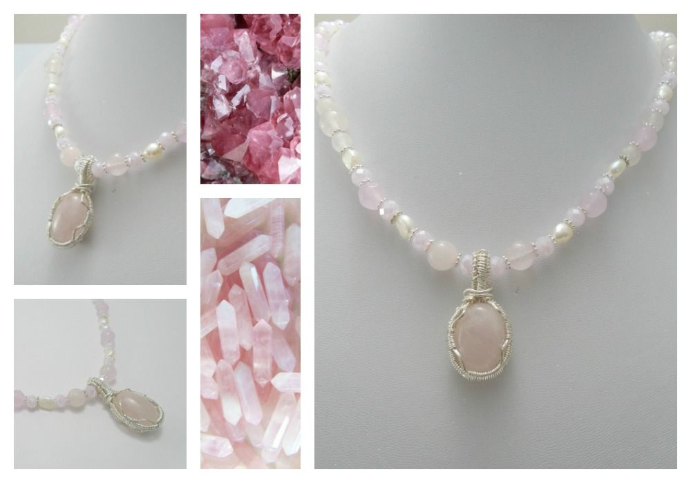 dainty choker necklace drops with bead Rose quartz necklace and earrings  rose quartz earrings rose quartz pendant rose quartz choker