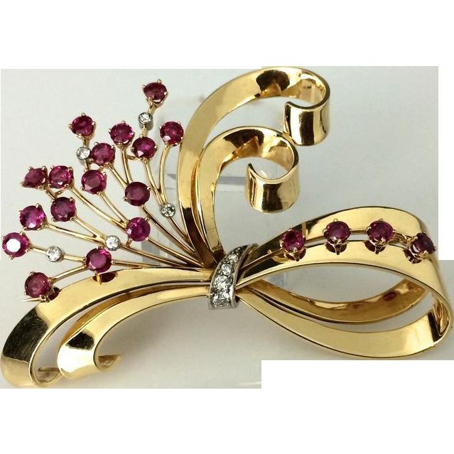 Signed 1940's Tiffany & Co. 14K Ruby & Diamond Brooch
