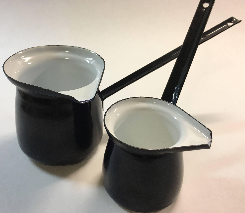 Vintage Small Enamel Milk Pots Pans Long Handles And Pour Spouts Café Au Lait Set Of Two Retro Kitchen Decorretro