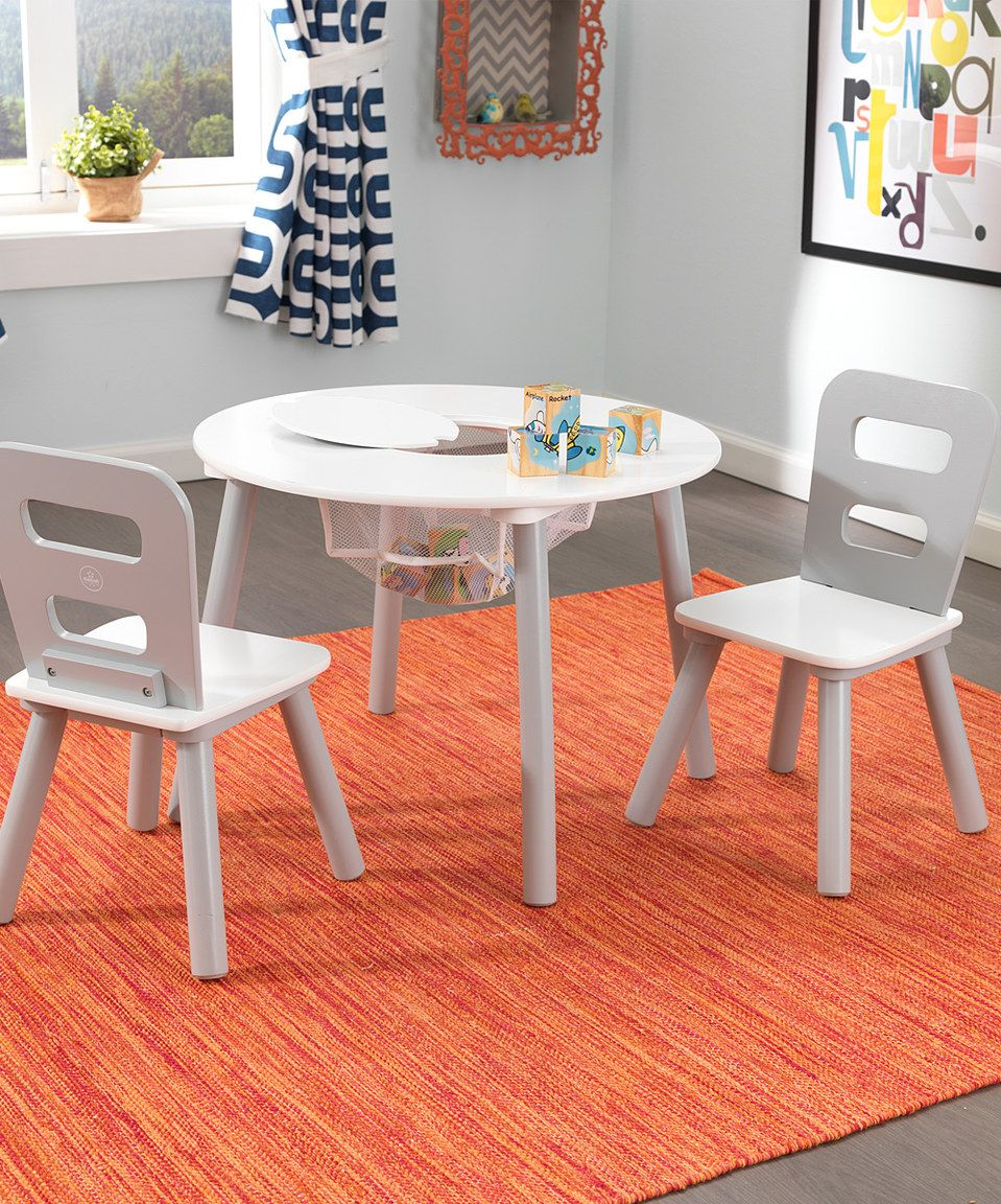 Look at this #zulilyfind! KidKraft Gray & White Three-Piece Round Table Set by KidKraft #zulilyfinds