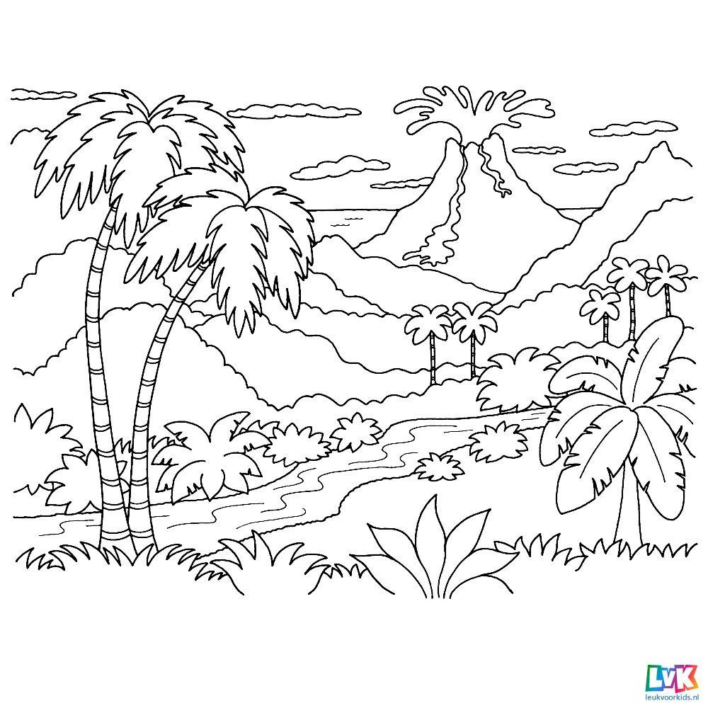 Leuk Voor Kids Een Uitbarstende Vulkaan Op De Achtergrond Mandala Kleurplaten Kleurplaten Voor Volwassenen Vulkanen