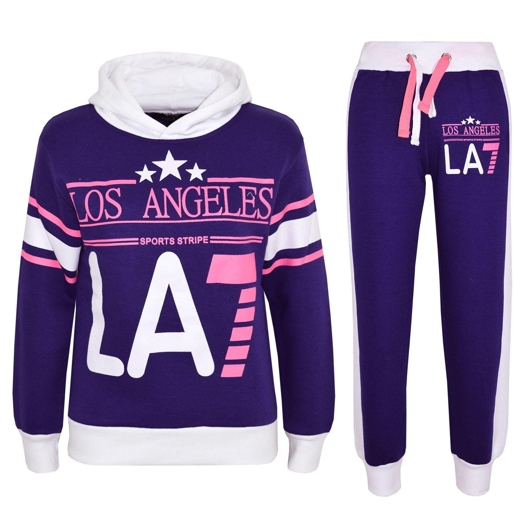 e8d286b2 Kids Girls Tracksuit LOS ANGELES LA7 Print Hoodie & Bottom Jog Suit ...