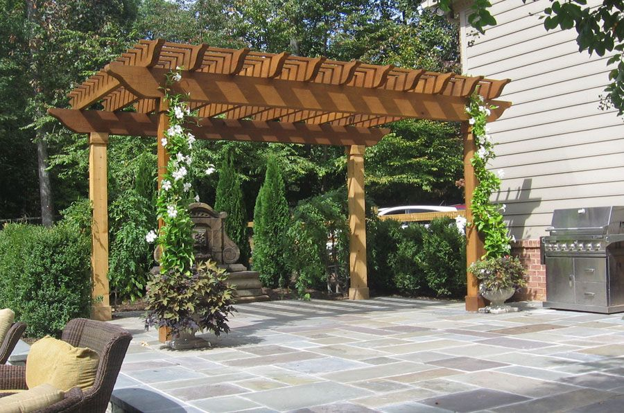 Patio Pergola Ideas Flagstone Patio A Flagstone Patio In