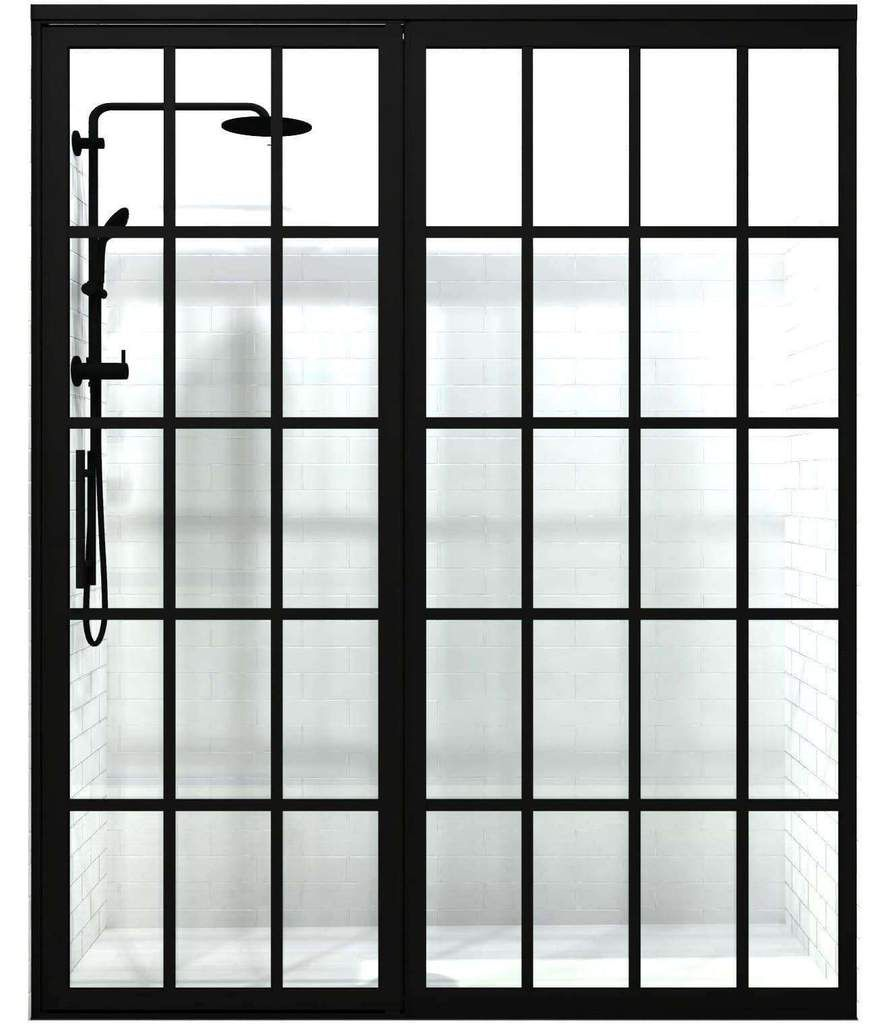 Gridscape GS1 Swing Shower Door and Extended Panel in