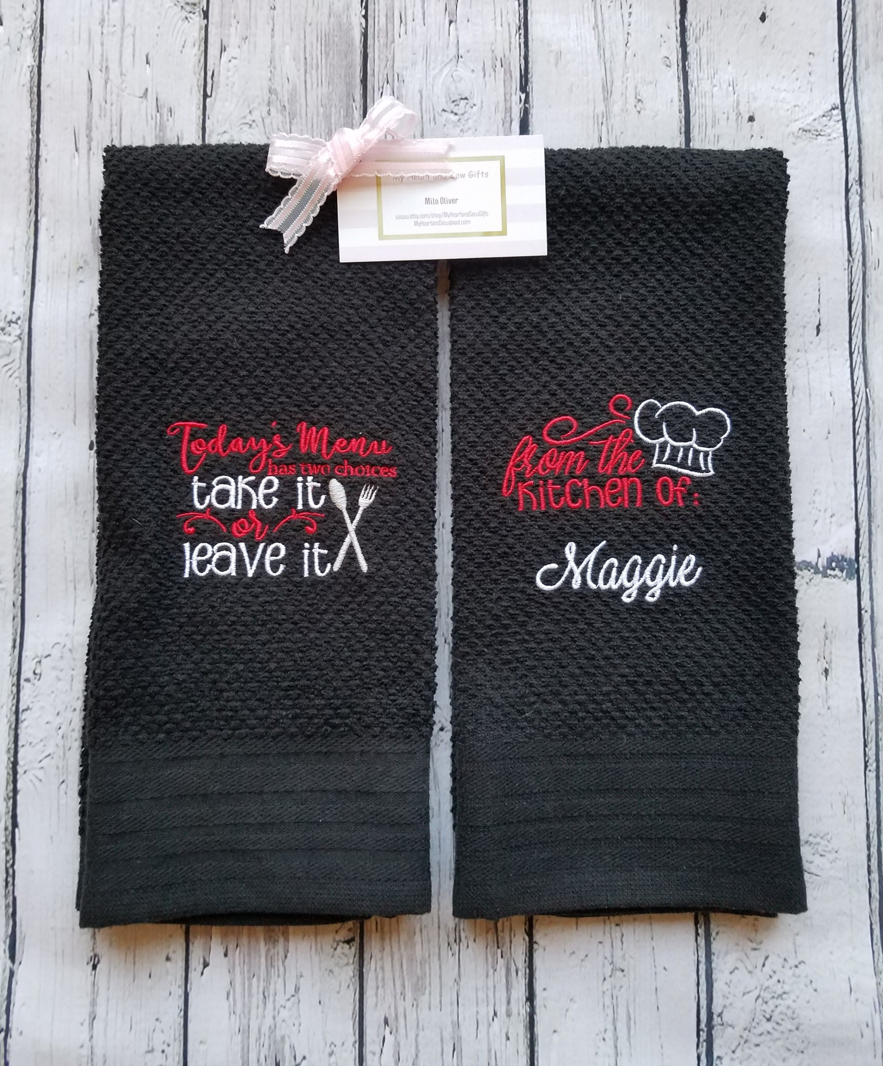 Black Kitchen Towel With Embroidered Funny Sayings In 2020 Black