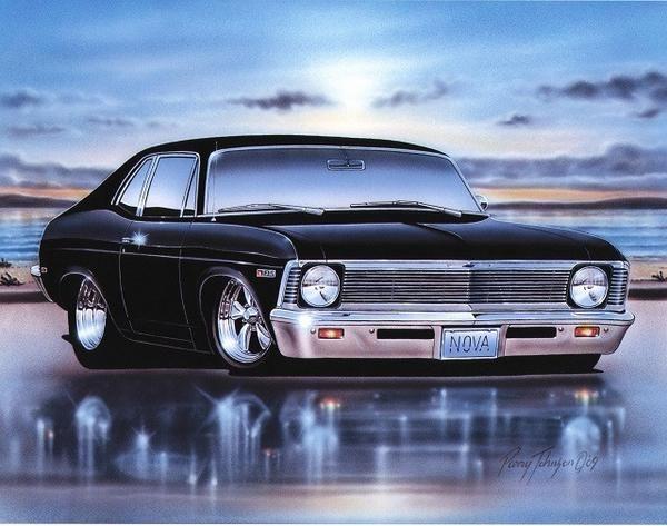 1968 69 Chevy Nova 2 Door Coupe Classic Car Art Print 11×14 Poster