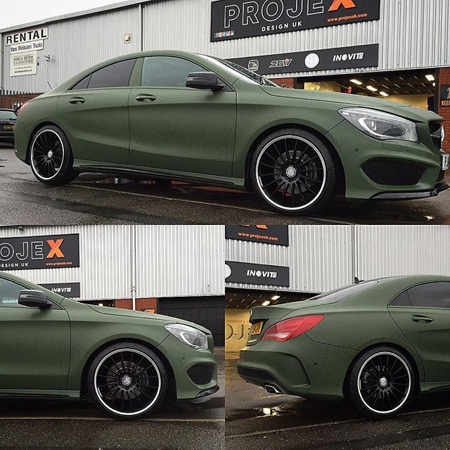 Military Green Matte Wrap With Black Rims On A Cla250 Mercedes