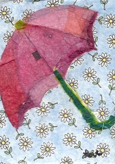 ACEO TW APR umbrella collage paper painting P4PMJFF Jennifer Love Artwork EBSQ #Collage
