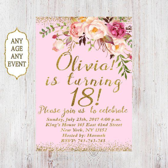 18th Birthday InvitationWomen Invitation Floral Pink And Gold Women