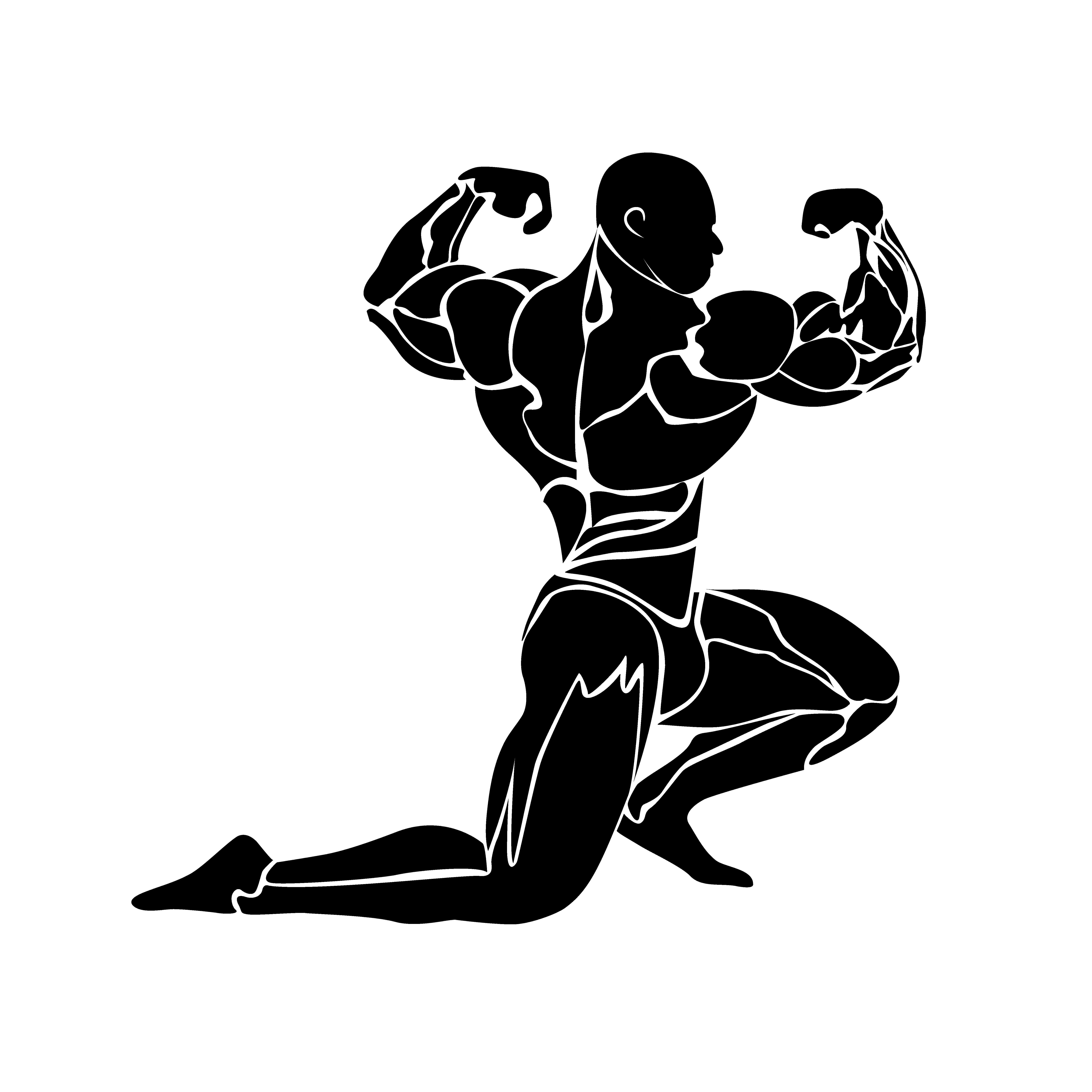 Bodybuilding icon, muscles, vector Gym art, Bodybuilding