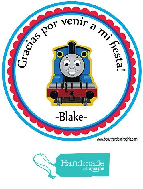 Thomas the Train SPANISH BILINGUAL Custom Personalized Stickers Birthday Party Favors - Treat Tag Toppers- 24 Stickers Popular Size 2.5 Inches. Peel and Stick Backing from Custom Party Favors, Handmade Craft , and Educational Products http://www.amazon.com/dp/B01E6C0NY0/ref=hnd_sw_r_pi_dp_Hiwgxb0NSVP8J #handmadeatamazon