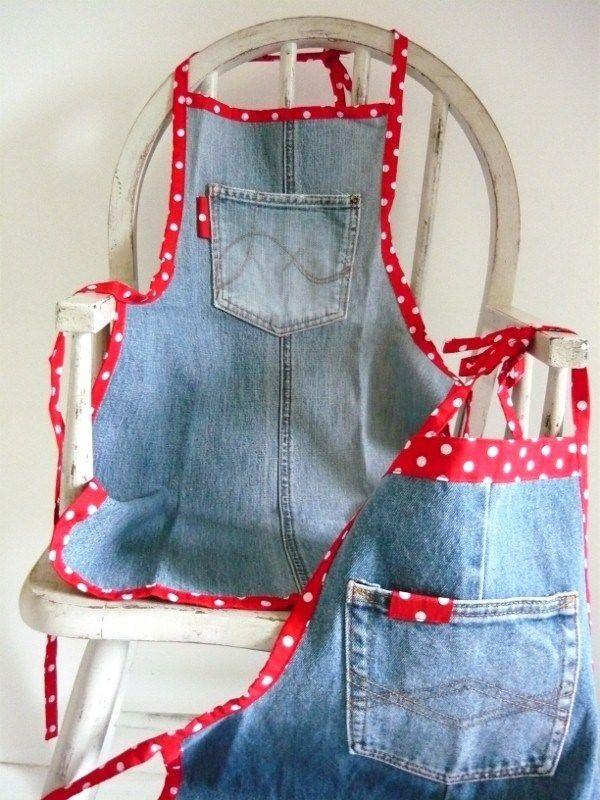 Delantales jardineros de jeans manualidades for Mandiles de cocina originales