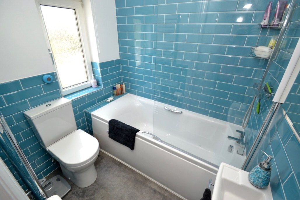 Image result for teal metro tiles Brick bathroom, Small