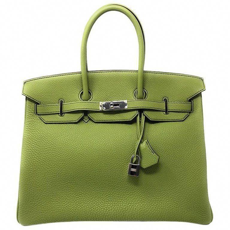 4eeef61fbf0 Hermès Birkin 35 Togo Vert Cru Green Leather Satchel 28% off retail