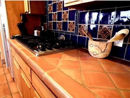 Saltillo Tile Kitchens And Blue Counters