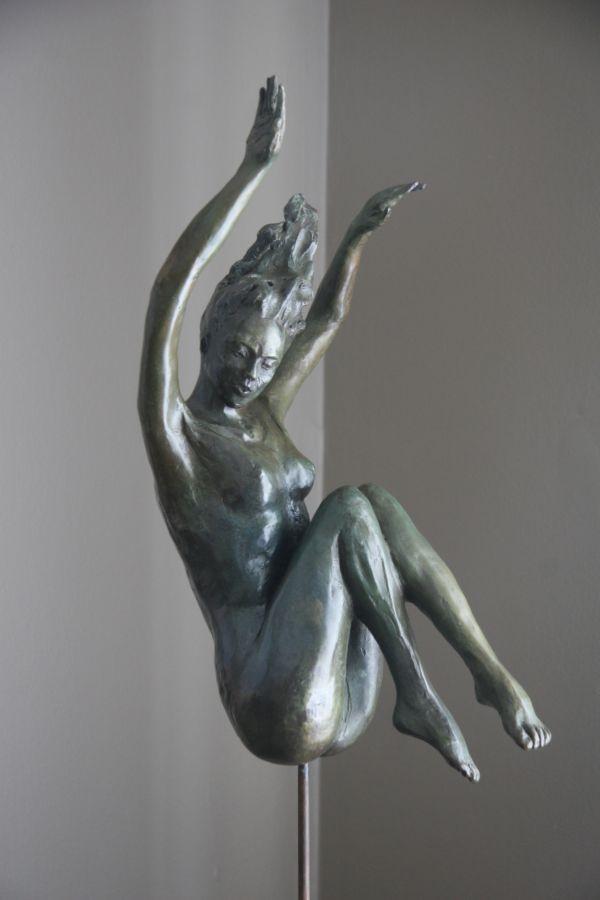 #Bronze #sculpture by #sculptor Heidi Hadaway titled: 'Descending (Small bronze…