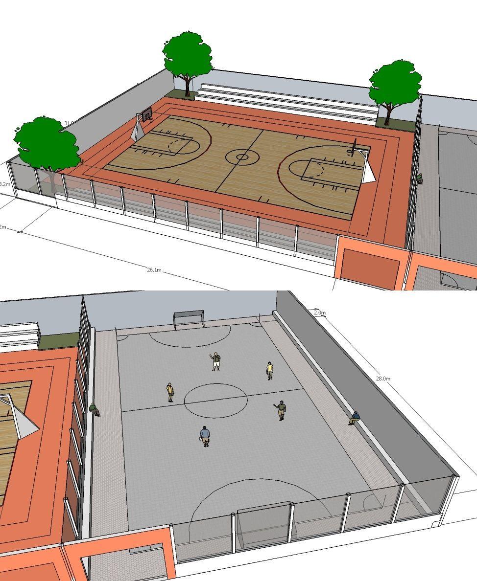 Sketsa Gambar Lapangan Basket