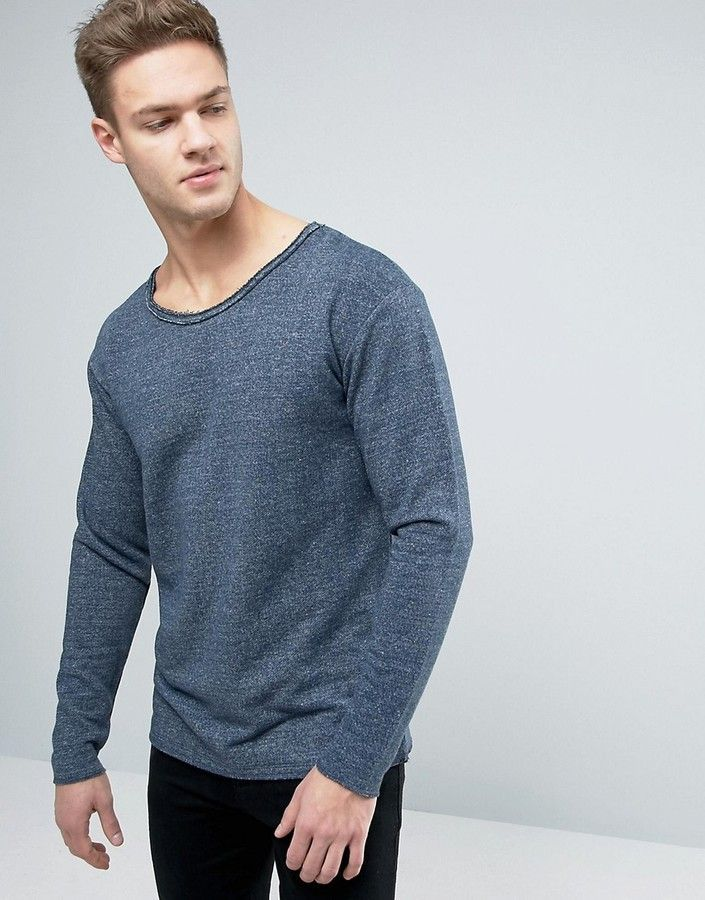 Jack and Jones Originals Sweatshirt With Dropped Shoulders And Raw Edges