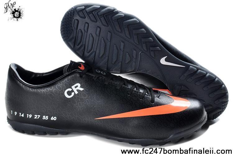 New Nike Mercurial CR7 TF Black Orange Soccer Shoes On Sale
