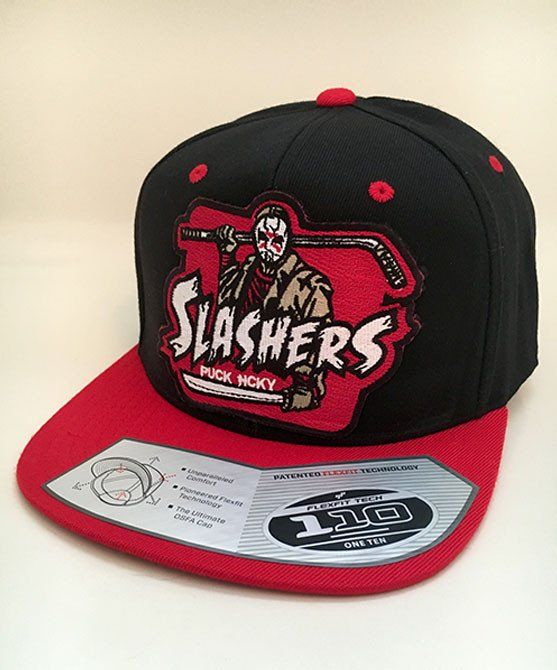 new concept cbafb a42d5 FIRST JASON  SLASHERS  flat bill snapback hockey cap in black with red brim